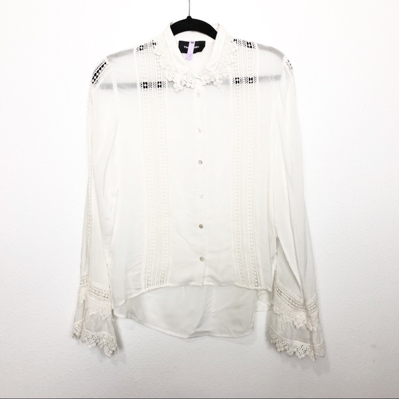 10596c89 The Kooples Crochet Bell Sleeve High Low Blouse. M_5cbac2f41153ba119e0b1af9